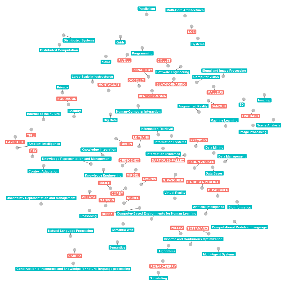 Plot of research interests of the WIMMICS team at Inria with repelling labels.
